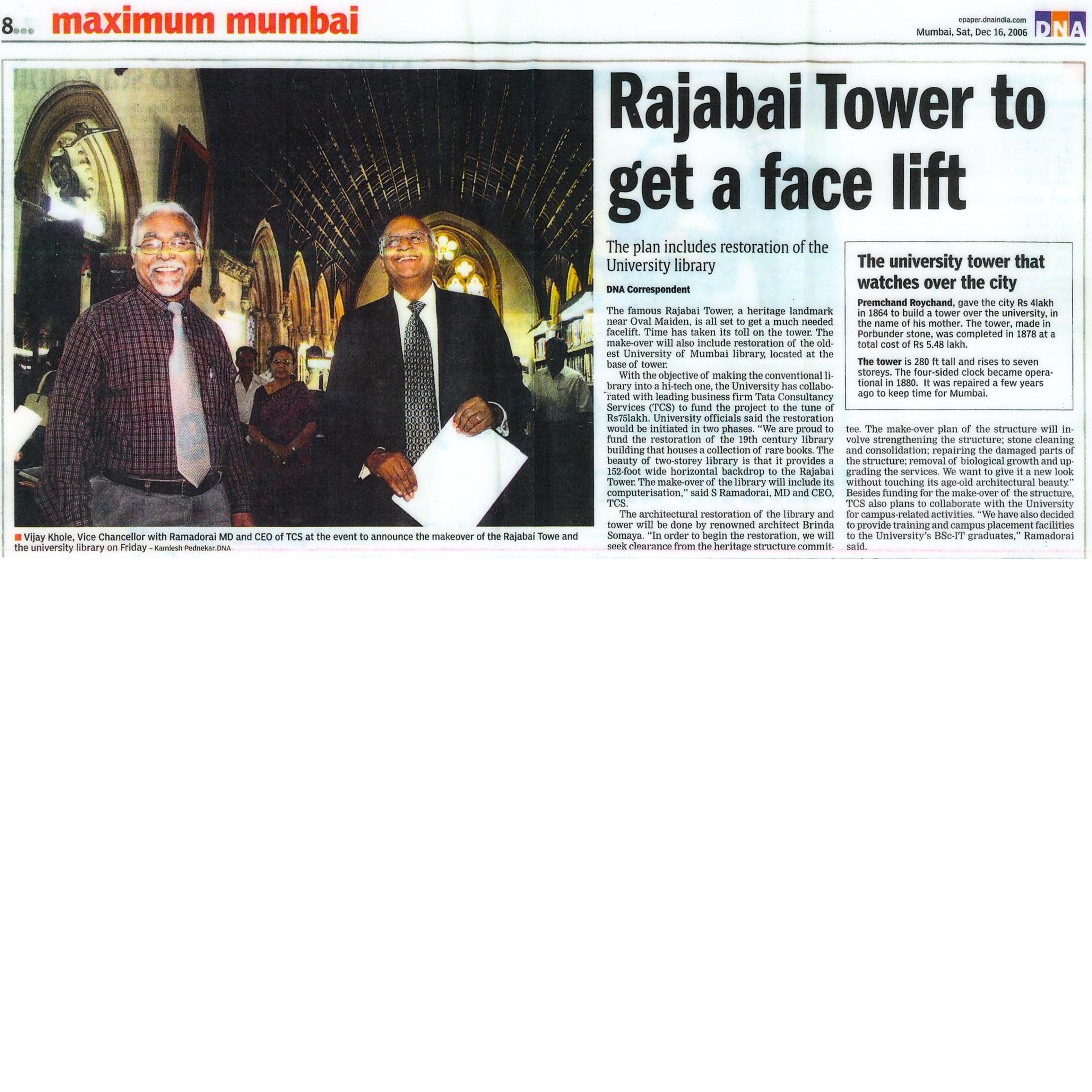 DNA India - Rajabai Tower to get a face lift