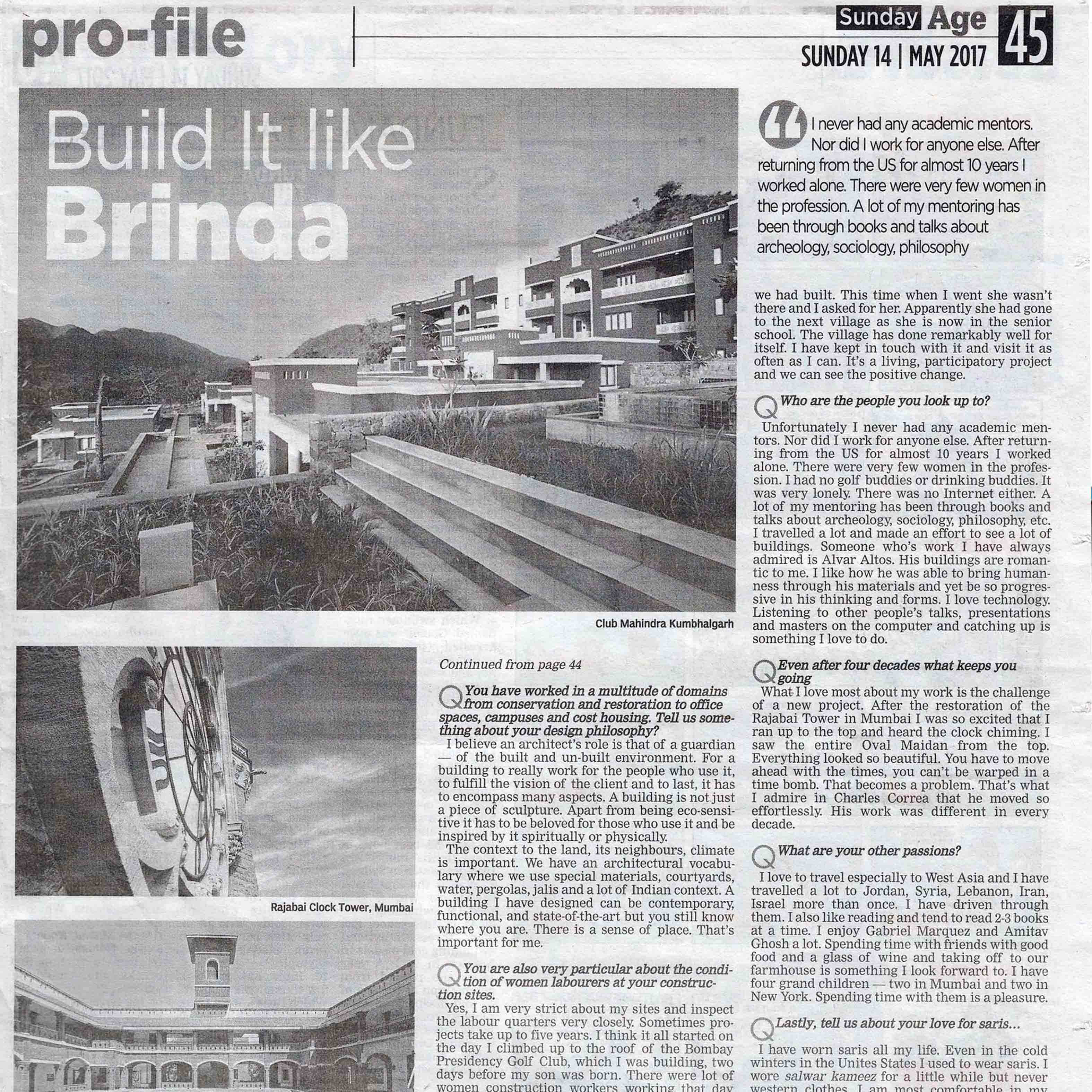 The Asian Age, Mumbai - Build it like Brinda - 14th May 2017