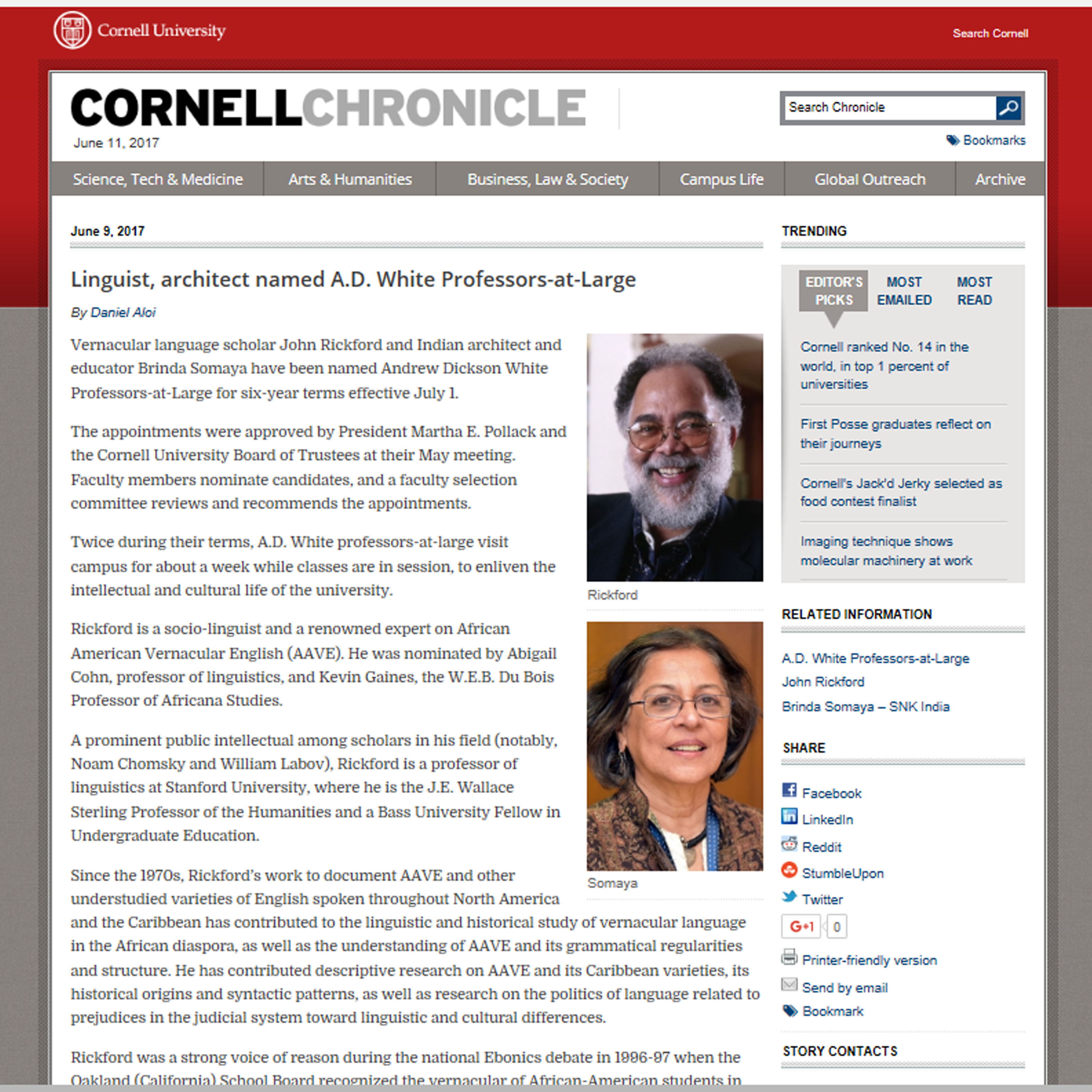 Linguist, architect named A.D. White Professors-at-Large by Daniel Alo; Cornell Corniche, Cornell University USA - 9th June 2017.