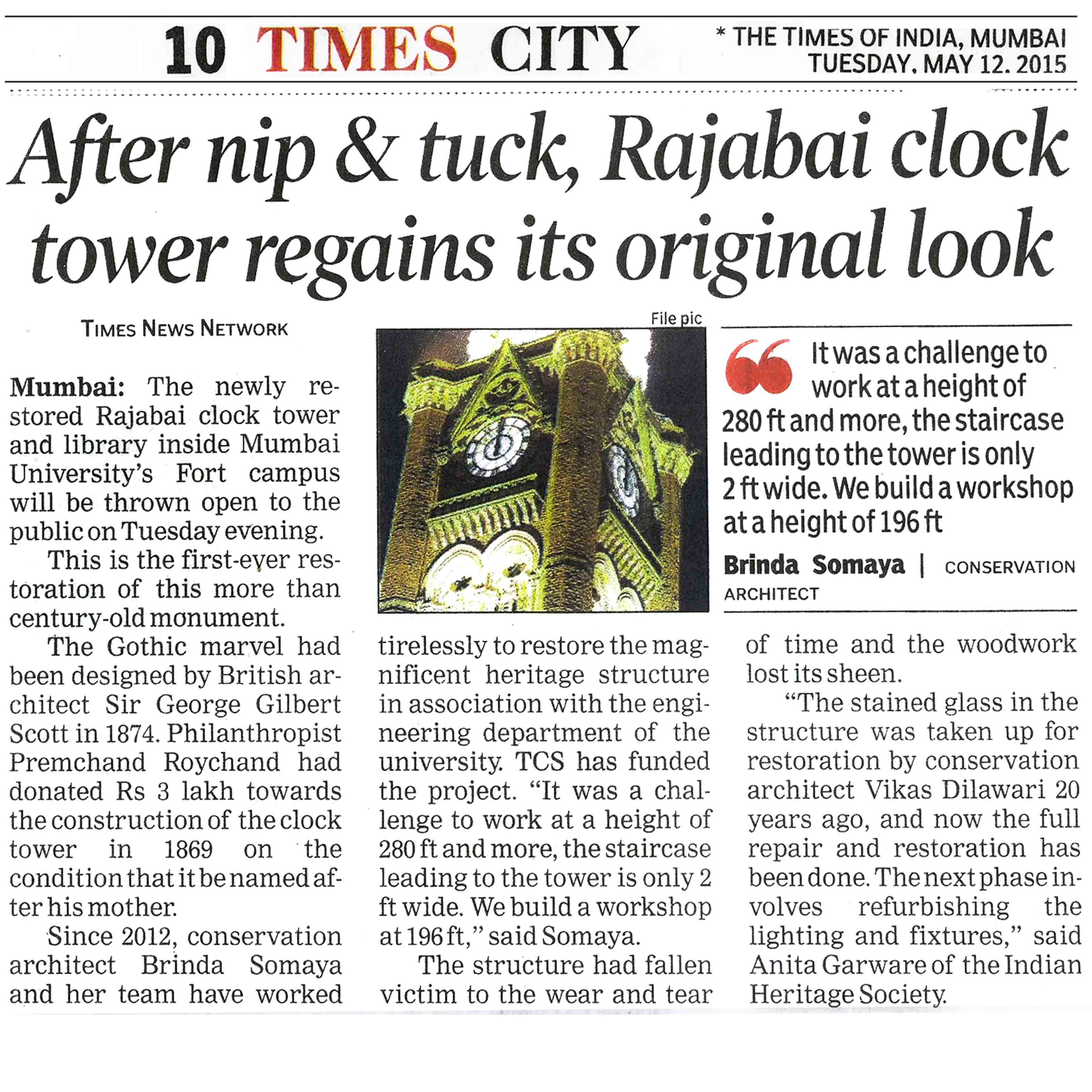The Times of India - After nip and tuck, Rajabai clock tower regains its original look