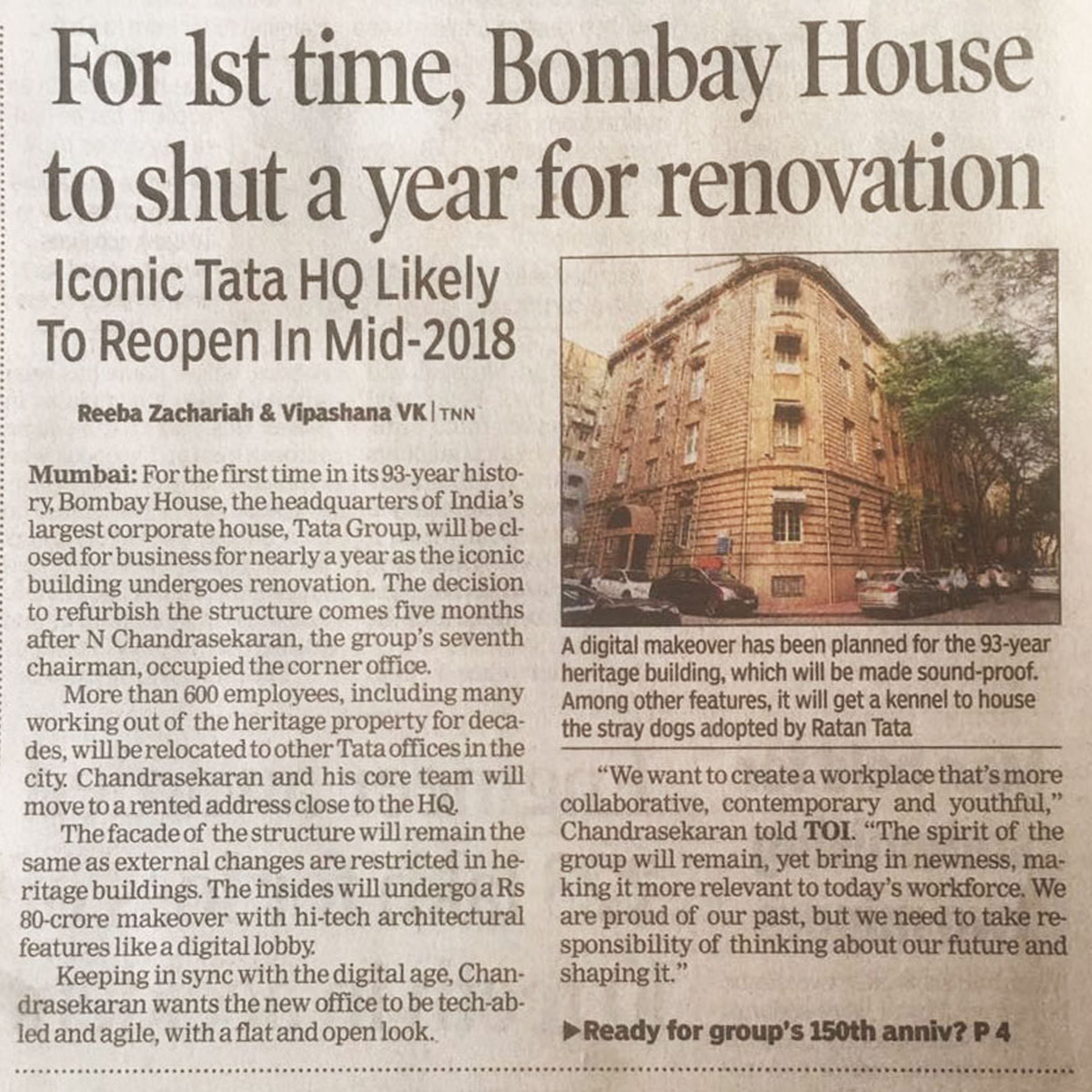 The Times of India - For 1st time, Bombay House to shut a year for renovation - 6 August 2017