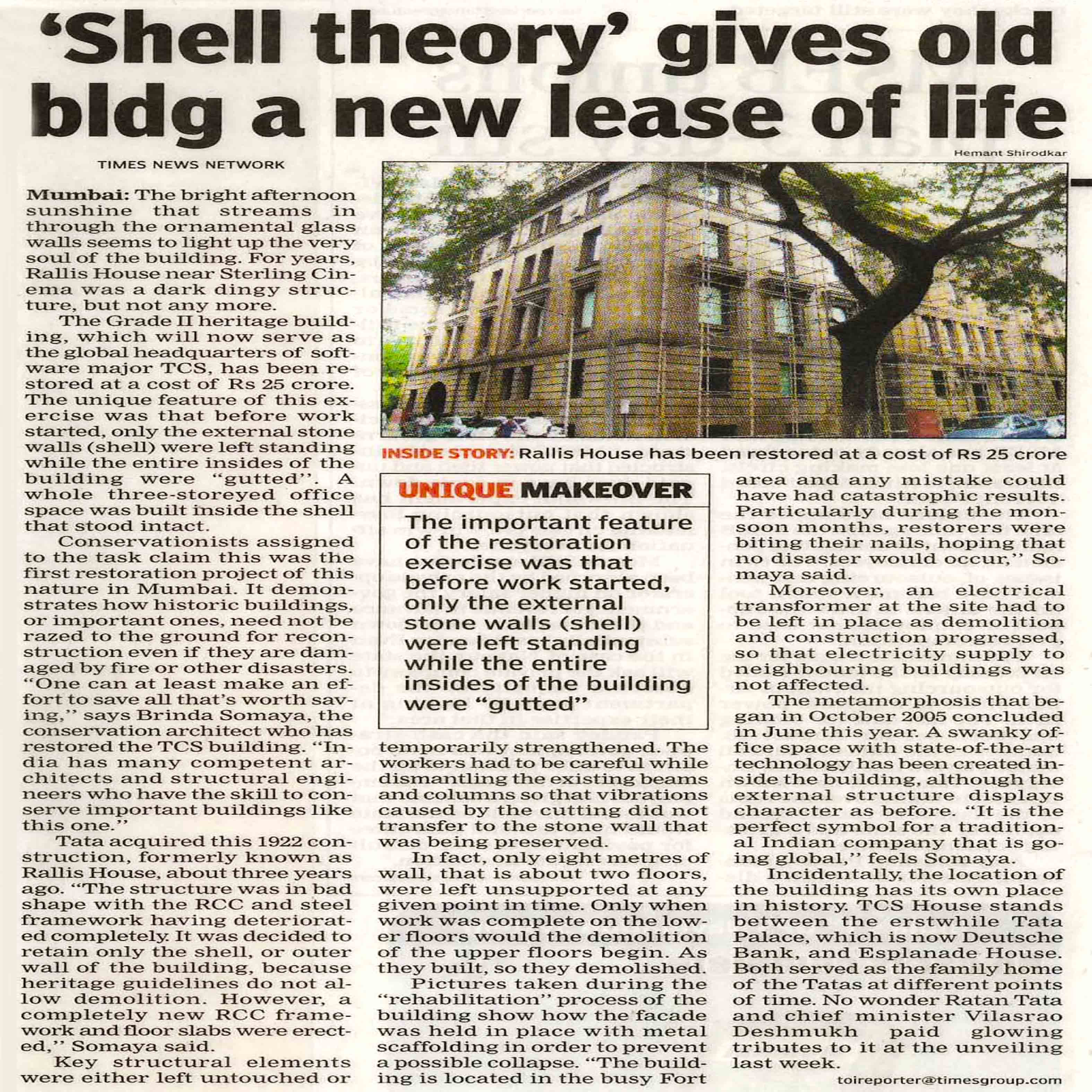 The Times of India - 'Shell theory' gives old bldg a new lease of life