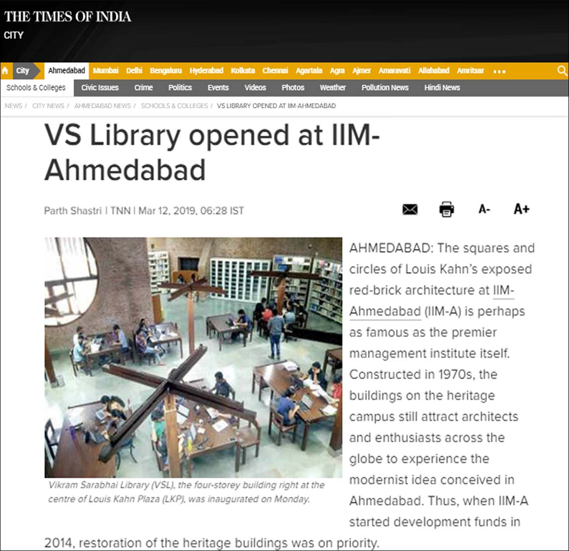VS Library opened at IIM Ahmedabad, The Time of India - March 2019