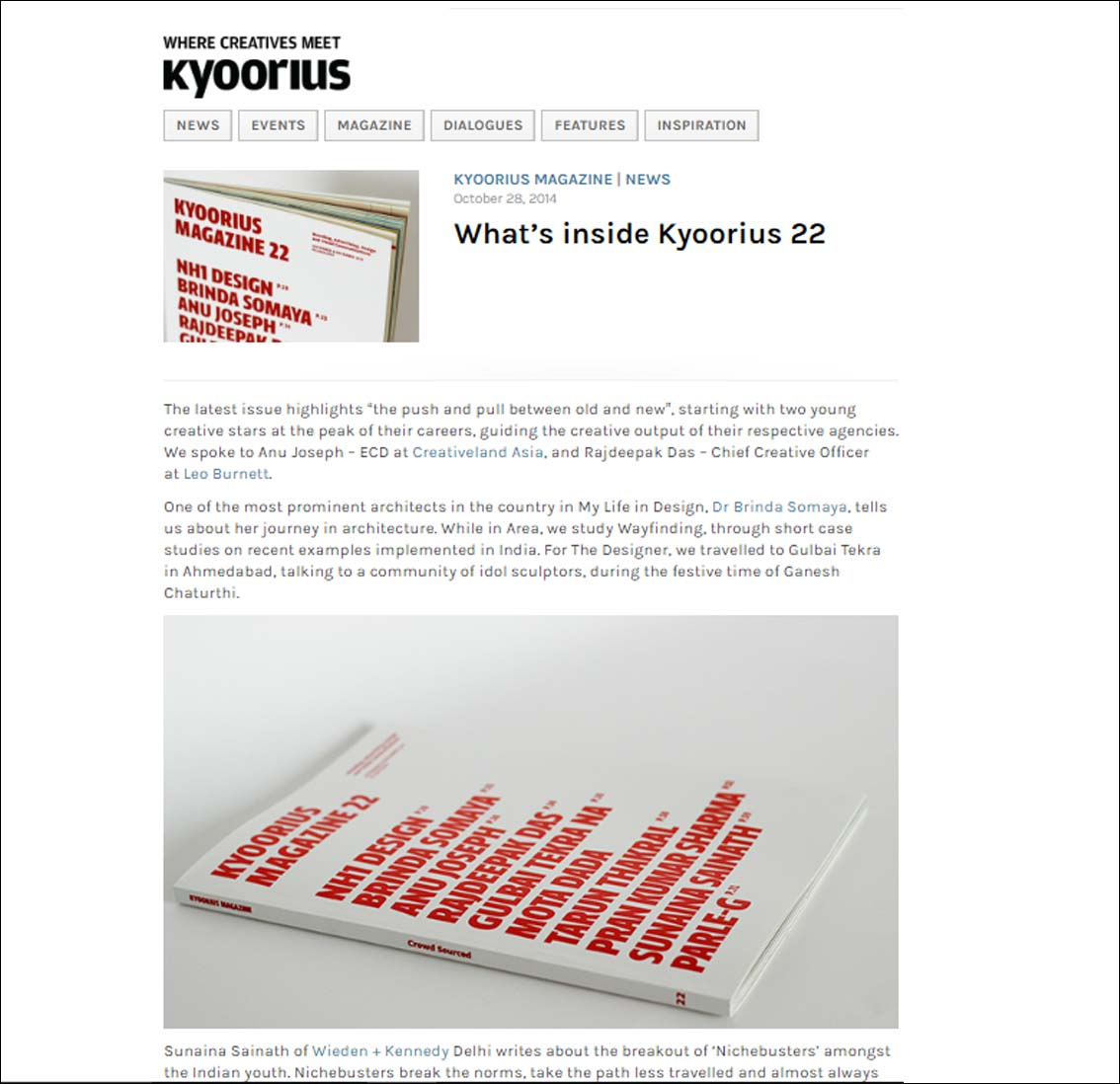 Where Creatives meet Kyoorius - October 2014