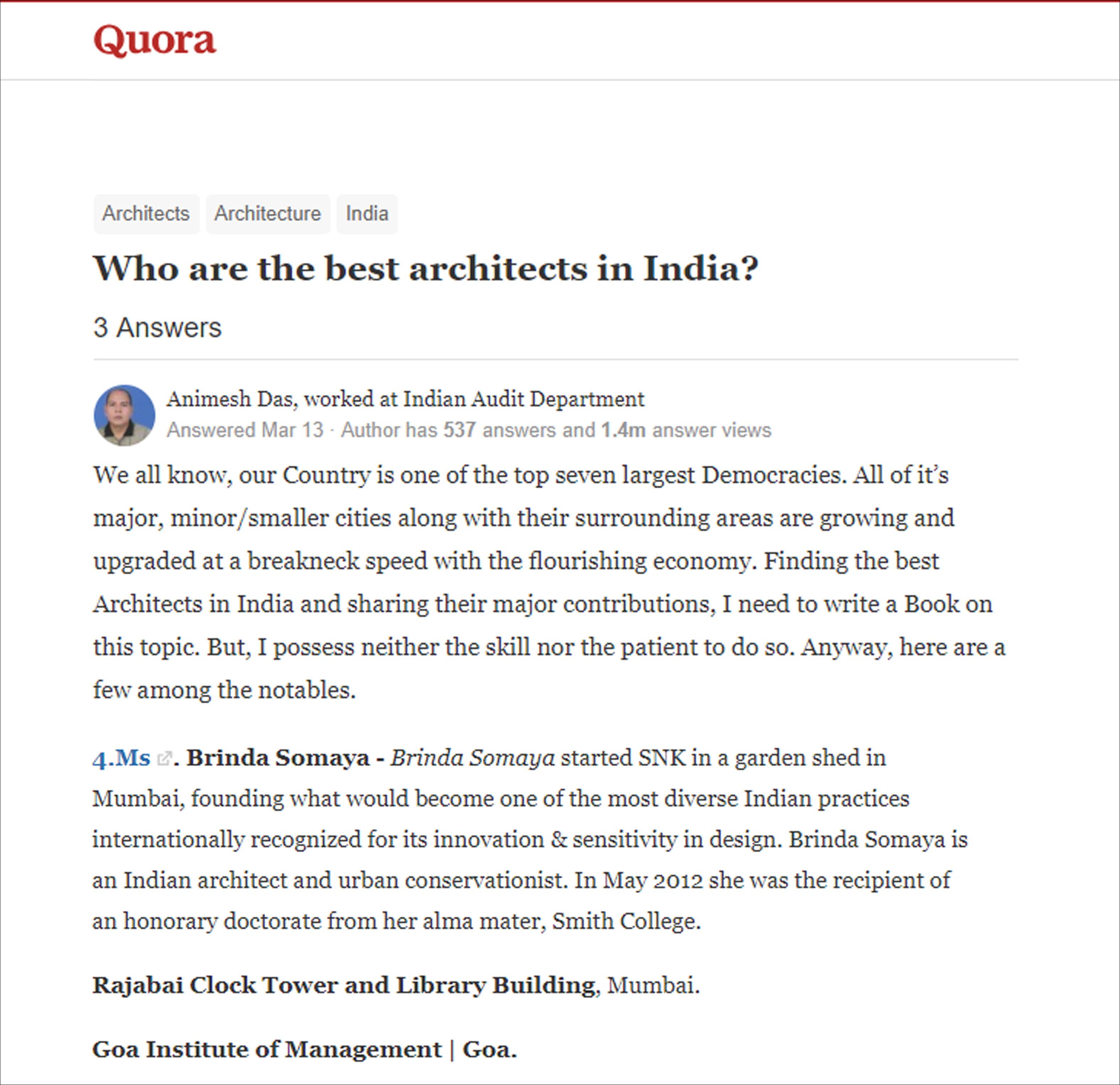 Who are the best architects in India, Quora - March 2018