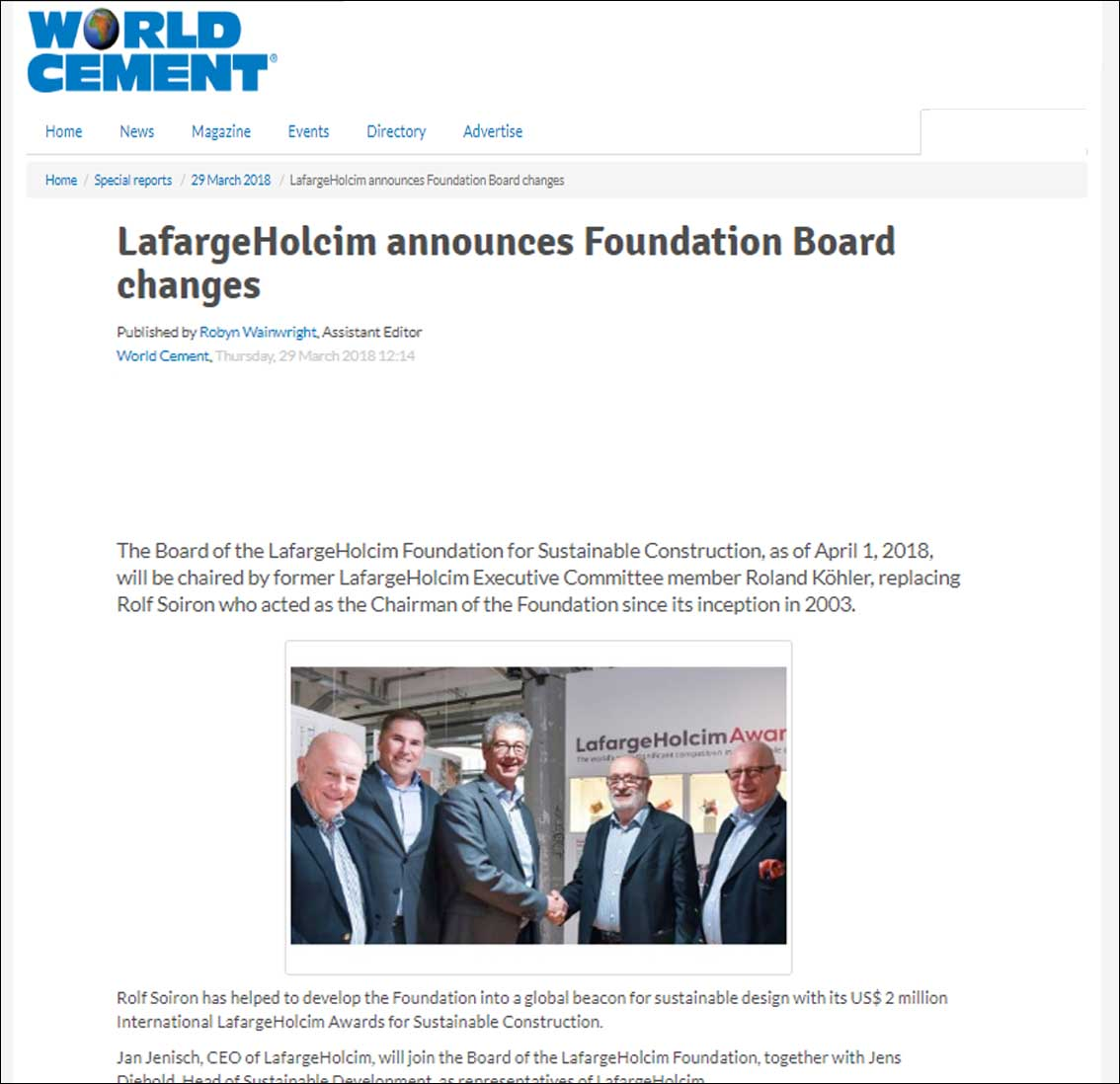 World cement, Lafarge Holcim announces Foundation Board changes - March 2018