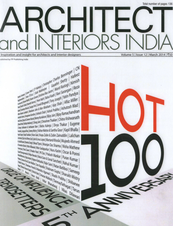Architect & Interiors India - March 2014.  Vol 5 Issue 12.