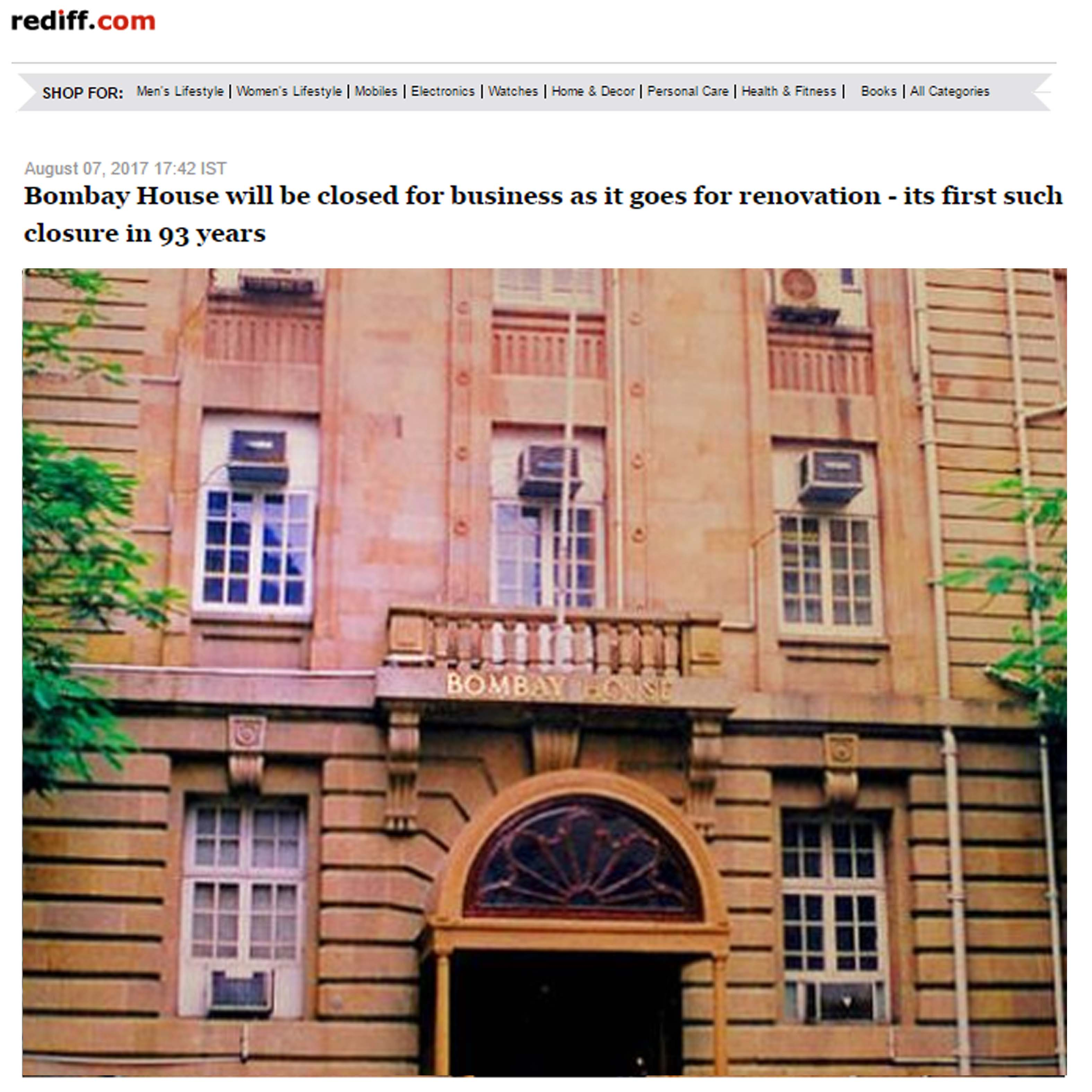 Bombay House to be shut for about a year, Rediff.com, 7th August 2017