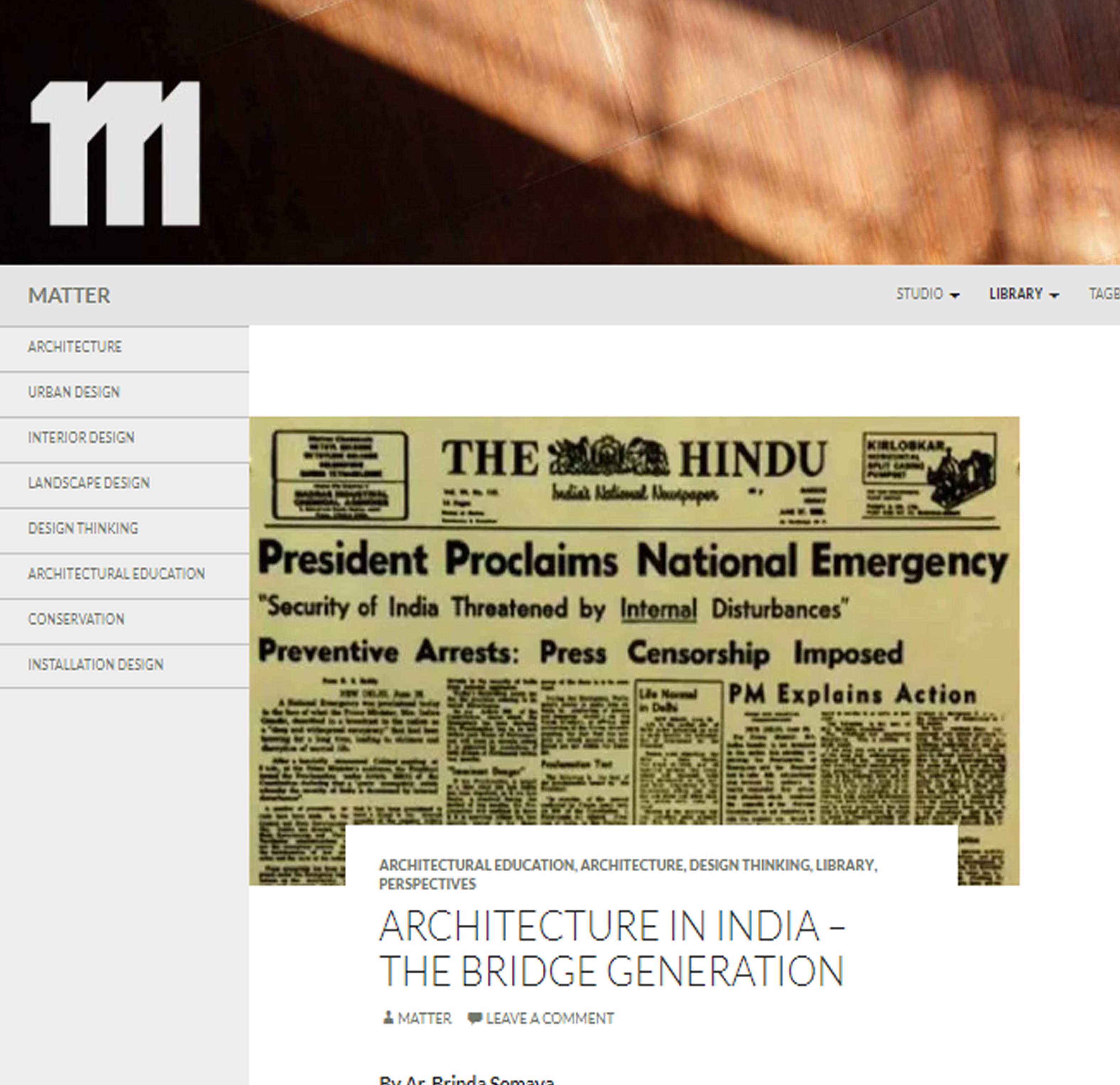 Architecture in India The Bridge Generation ,Think Matter - December 2015